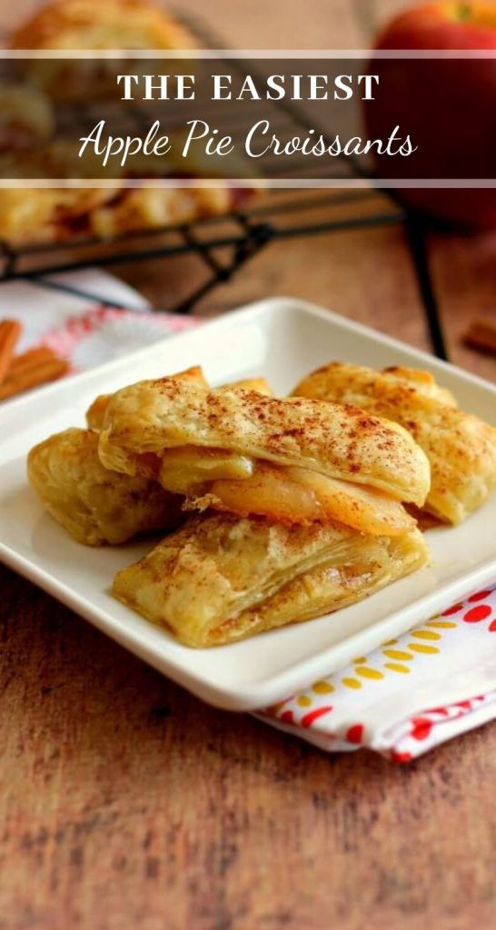 These Easy Apple Pie Croissants taste just like apple pie, but without all of the work. With just a few ingredients and hardly any prep time, this simple dessert is loaded with flavor and perfect for breakfast or dessert! #applepie #applepierecipes #applecroissants #croissantrecipe #appledessert #applebreakfast #applerecipe #falldesserts #fallbreakfast #fallrecipe #desserts #puffpastryrecipes #puffpastrydessert