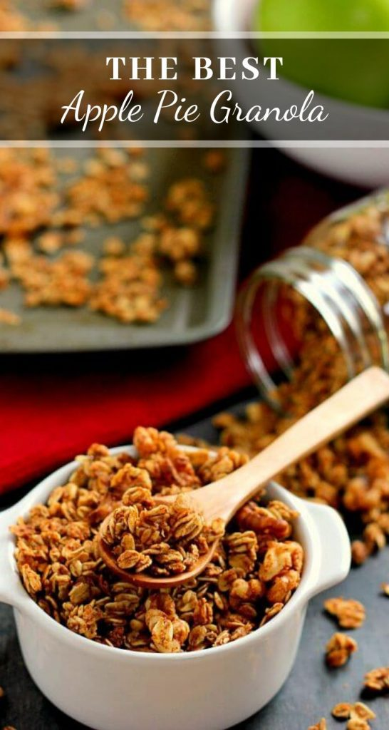 This Apple Pie Granola recipe is jam-packed with hearty oats, walnuts, and cozy fall spices. It makes for a great snack or healthy breakfast and tastes like apple pie, plus it's gluten free! #granola #apples #applegranola #applepie #fallrecipe #fallbreakfast #fallsnack #applesnack #snack #breakfast #glutenfreebreakfast #glutenfreegranola