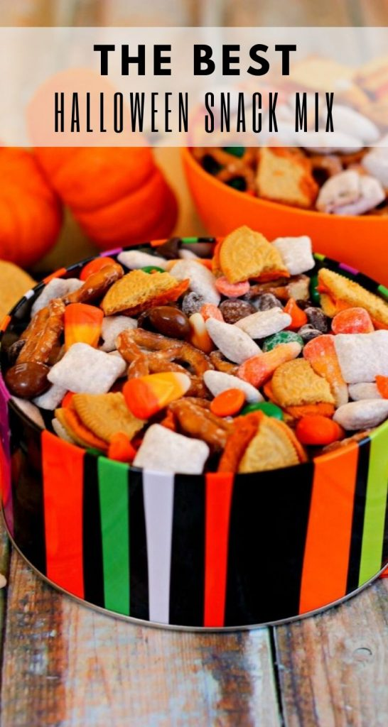 This Halloween Snack Mix is full of tasty treats, packed withchex cereal coated with pumpkin spice pudding mix, pretzels, Pumpkin Spice Oreos, pumpkin spice candy corn, pumpkin spice M&Ms, and Halloween chocolate chips. Basically, it's pumpkin spice flavored goodies in a bowl! #snack #snackmix #snackrecipe #snackmixrecipe #halloween #halloweenrecipe #halloweensnack #halloweensnackrecipe #fallrecipe #fallappetizer #fallsnack