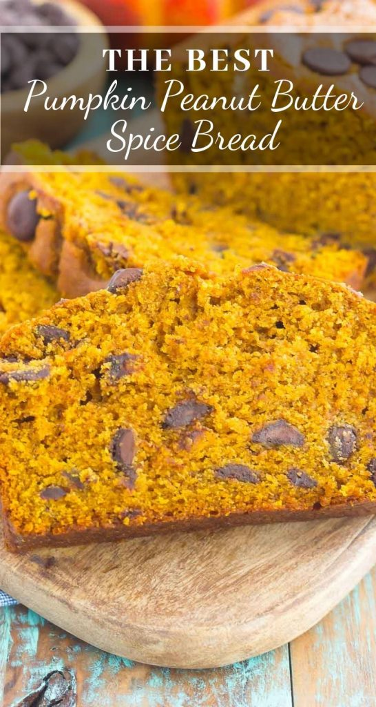 This Pumpkin Peanut Butter Spice Bread is filled with a warm pumpkin flavor, dark chocolate chips, and creamy peanut butter. Easy to make and filled with an irresistiblecombination, this spiced bread will become your favorite breakfast or dessert of the season! #pumpkin #bread #pumpkinbread #peanutbutter #peanubutterbread #pumpkindessert #pumpkinrecipe #recipe #dessert