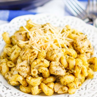 Instant Pot Pesto Chicken with Pasta is a delicious weeknight meal that combines the bright basil and garlic flavor of pesto with easy to cook chicken and pasta.The entire meal made in your Instant Pot in a little more than 30 minutes makes this a perfect weeknight recipe! #chicken #pestochicken #pesto #pestochickenpasta #pasta #instantpot #instantpotchicken #instantpotpasta #weeknightdinner #easydinner #dinner