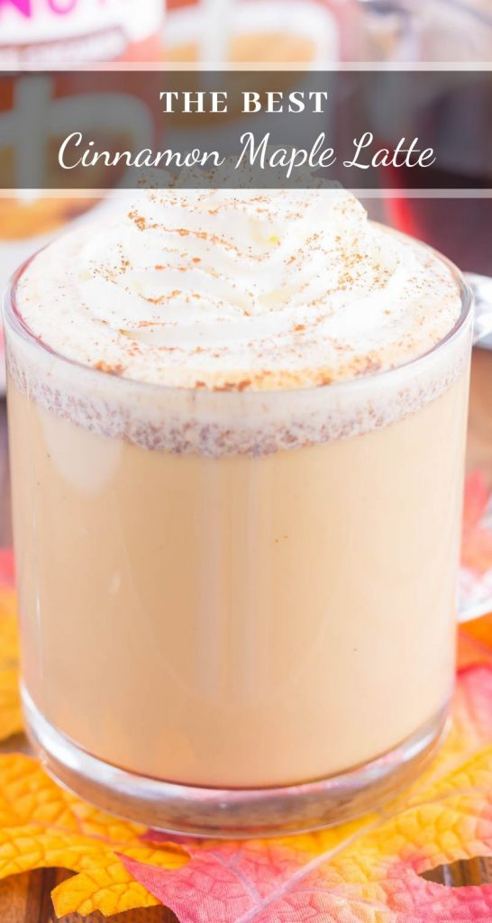 This Cinnamon Maple Latte is filled with cozy fall flavors and is perfect to enjoy during the season. Packed with hints of maple, cinnamon and nutmeg, this homemade latte was made for coffee lovers everywhere! #latte #latterecipe #cinnamonlatte #maplelatte #cinnamonmaplelatte #coffee #coffeerecipe #falldrink #fallcoffee