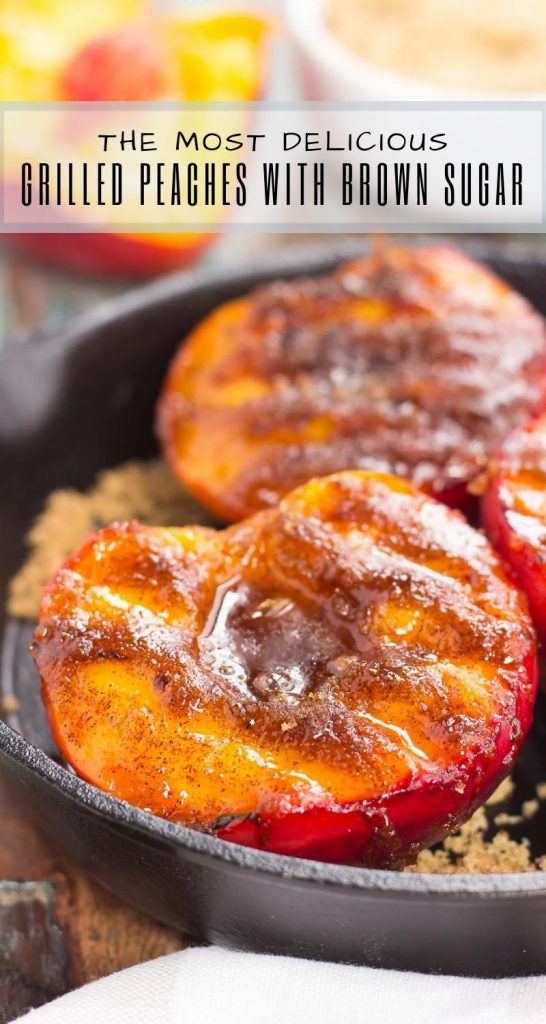 These Grilled Peaches with Cinnamon and Brown Sugar are a delicious, healthier dessert. Fresh peaches are lightly grilled and then topped with a cinnamon and brown sugar mixture that caramelizes to perfection. With just four ingredients and hardly any prep time, you can have this easy dish ready in minutes! #peaches #grilledpeaches #peachrecipes #peachdessert #dessert #dessertrecipes