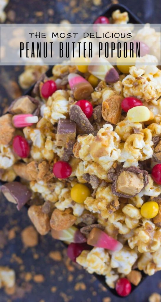 This Peanut Butter Candy Popcorn is the perfect sweet and salty snack to satisfy your sweet tooth! It makes the best snack to munch on duringHalloween, and is also a great way to use up that leftover candy! #popcorn #popcornrecipe #peanutbutter #peanutbutterpopcorn #candy #halloween #halloweenrecipe #halloweensnack #halloweenpopcorn #appetizer #snack #recipe
