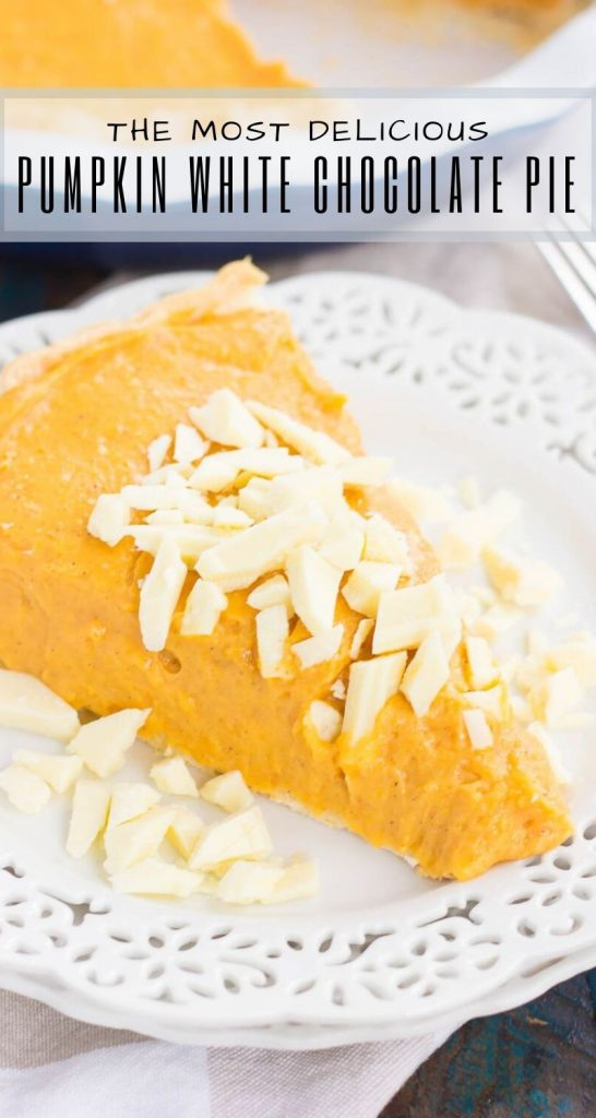 This Pumpkin White Chocolate Pie is filled with a creamy mixture of pumpkin and white chocolate pudding that's swirled to perfection. It's smooth, silky, and an easy, no-bake dessert! #nobake #nobakedesserts #nobakepies #pumpkinpie #whitechocolate #dessert #falldessert #fallrecipe #pumpkinrecipes