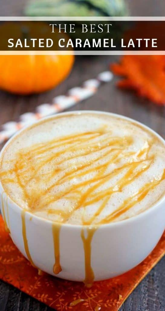 This Salted Caramel Latte is filled with warm flavors and is the perfect drink for when you need your coffee fix. It's easy to whip up and has a fraction of the calories that are found in coffee shop drinks! #coffee #coffeedrinks #latterecipes #caramellatte #saltedcaramel #saltedcaramellatte #fallrecipes #falldrinks