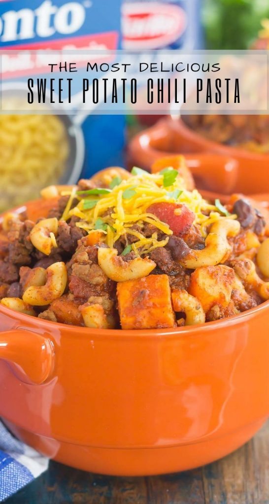 This Sweet Potato Chili Pasta is a one pot dish that'spacked withthe warm and comforting flavors of the season. Hearty, thick, and filled with sweet potatoes, beef, black beans, and pasta, you'll love this easymeal! #chili #chilipasta #chilirecipe #sweetpotatorecipe #sweetpotatopasta #sweetpotatochili #sweetpotatochilirecipe #dinner #falldinner #comfortfood #pasta #pastarecipe