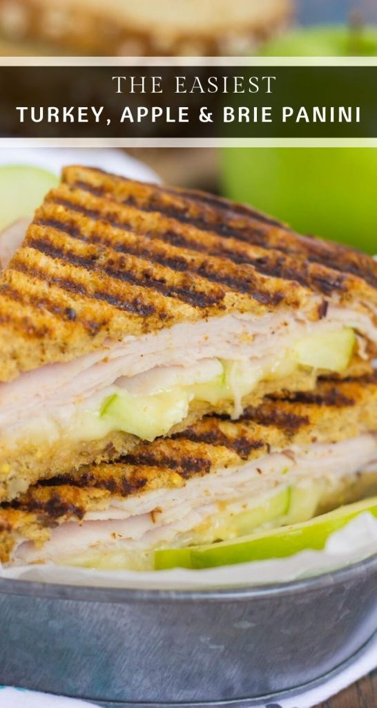 This Turkey, Apple and Brie Panini is the perfect fall-inspired sandwich. It's packed with fresh turkey, granny smith apples, creamy brie cheese and then toasted until golden. Simple, fast, and bursting with flavor, this sweet and savory combo makes a delicious lunch or dinner! #panini #turkeypanini #sandwich #sandwichrecipe #paninirecipe #lunch #dinner