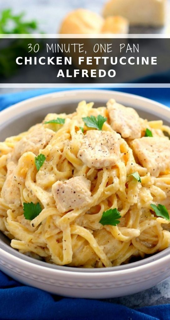 This One Pan Chicken Fettuccine Alfredo is filled with tender chicken and fresh pasta that's tossed in a lightened, creamy sauce. It's made in one pan and ready in just 30 minutes! #chicken #chickenpasta #chickenrecipe #fettuccinealfredo #fettuccinealfredorecipe #chickenfettuccinealfredo #pasta #pastarecipes #onepotpasta
