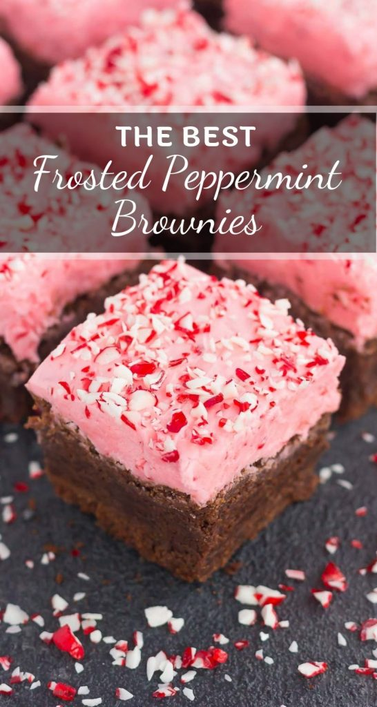 These Frosted Peppermint Brownies are thick, fudgy, and full of flavor. Classic brownies get a holiday twist by topping them with a sweet peppermint crunch frosting. Easy to make and even better to eat, this treat will be the hit of the holiday season! #brownies #peppermintbrownies #frostedbrownies #fudgybrownies #brownierecipe #holidaydessert #christmasdessert