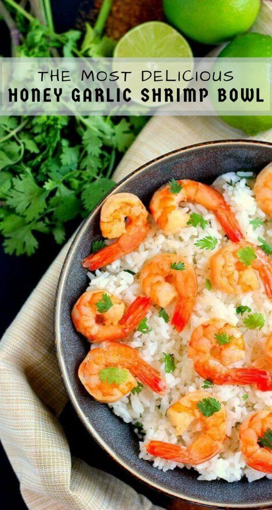 This Honey Garlic Shrimp and Cilantro Lime Rice Bowl is packed with tender shrimp, seasoned with a sweet honey garlic sauce and nestled on top of zesty cilantro lime rice. It's ready in less than 30 minutes and bursting with flavor! #shrimp #shrimprecipe #rice #ricebowl #cilantrolimerice #honeygarlic #seafoodrecipe #easydinner