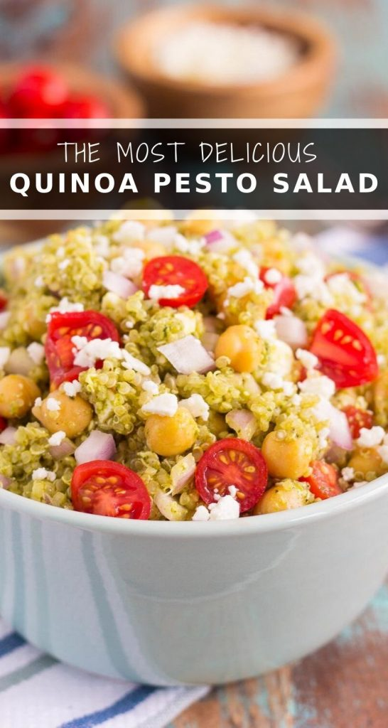 This Quinoa and Chickpea Pesto Saladis filled with chickpeas, hearty quinoa, cherry tomatoes, red onions, and crumbled feta cheese. It's tossed with a zesty pesto sauce that packs a punch of flavor in every bite. It's easy to prepare and makes simple dish that's perfect for lunch or dinner! #quinoa #quinoasalad #quinoabowl #pesto #pestosalad #chickpeas #chickpeasalad #saladrecipe #healthysalad #healthylunch