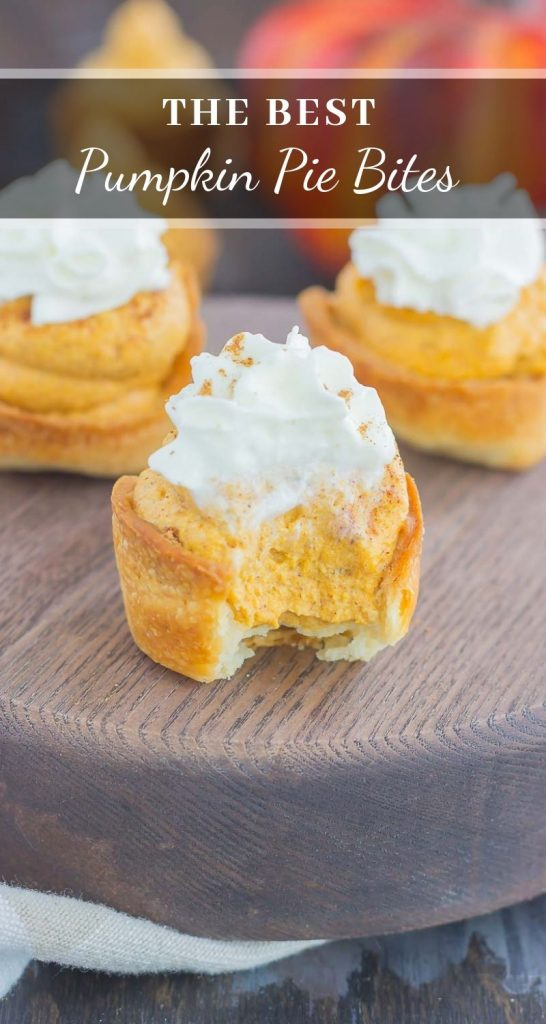 These Whipped Pumpkin Pie Bites are perfectly portable, poppable, and so easy to make. With just a few ingredients and hardly any prep time, you can have your pumpkin pie in bite-sized form! #pumpkin #pumpkinpie #pumpkinpiebites #pumpkinbites #piebites #pumpkinrecipe #fallrecipes #falldessert #pumpkindessert #dessert
