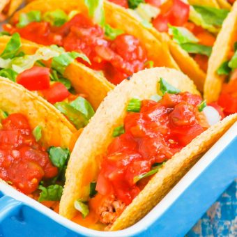 Baked Chicken Tacos are fast, easy, and perfect for a weeknight meal. With fresh ingredients and hardly any prep time, these tacos are perfect for when you want a no-fuss, flavorful dinner! #tacos #chickentacos #bakedtacos #chickendinner #chickenrecipes #easydinner #weeknightmeal