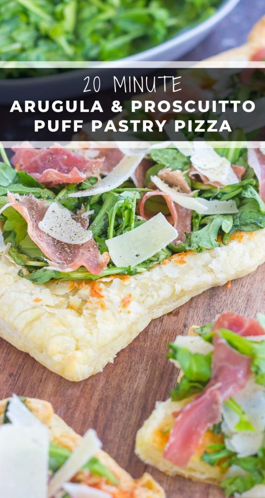 This Arugula and Prosciutto Puff Pastry Pizza is easy to make and ready in about 20 minutes. Simple, fresh, and bursting with flavor, this lighter pizza is perfect for busy weeknights and is sure to be a mealtime winner! #pizza #puffpastry #puffpastrypizza #arugula #arugulapizza #prosciutto #prosciuttopizza #pizzarecipe #dinner #easydinner