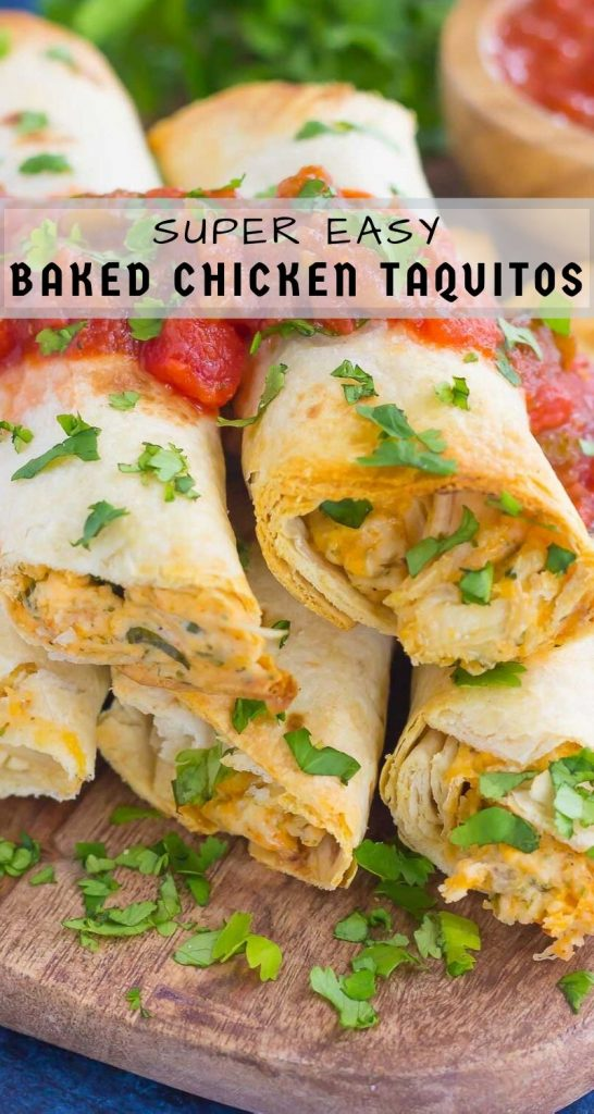 These Baked Chicken Ranch Taquitos are loaded with shredded chicken, cheddar cheese, cilantro, and a savory ranch cream cheese mixture. Fast, easy, and ready in less than 30 minutes, this simple dish is packed with flavor and perfect for the whole family! #chicken #taquitos #chickentaquitos #bakedchicken #chickendinner #chickenrecipe #mexicanrecipe #dinner