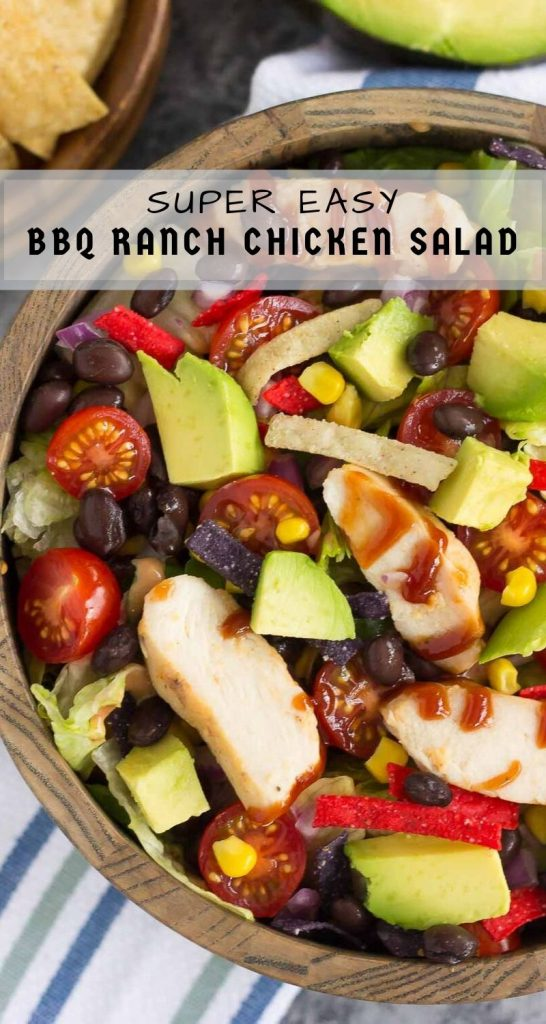 This Barbecue Ranch Chicken Salad is packed with fresh greens, tender chicken, black beans, corn, tomatoes, red onion, and avocado. It's tossed with a creamy barbecue ranch dressing and is full of flavor. Better than the restaurant version and so easy to make, you'll love the fresh ingredients in this easy summer salad! #salad #chickensalad #barbecuechickensalad #bbqchickensalad #bbqchicken #lunch #healthylunch
