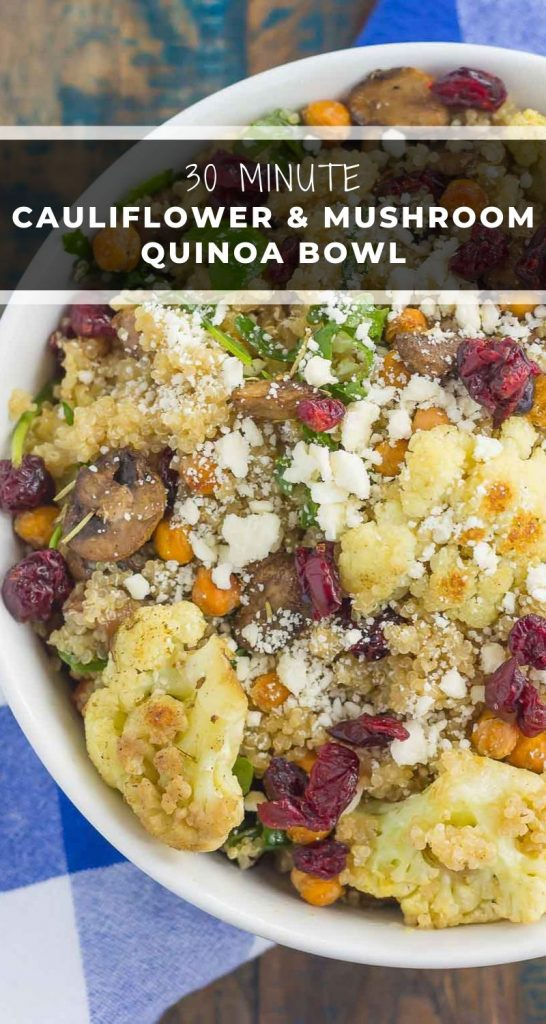 This Roasted Cauliflower, Mushroom and Chickpea Quinoa Bowl is a quick and easy meatless meal that is sure to please everyone.Hearty quinoa is tossedwith roasted cauliflower, mushrooms, chickpeas, and arugula, all tossed in a savory white balsamic dressing. This healthier meal is ready in just 30minutes and packed with delicious superfoods! #quinoa #quinoabowl #mushrooms #mushroombowl #cauliflower #cauliflowerbowl #healthybowl #healthylunch #dinner