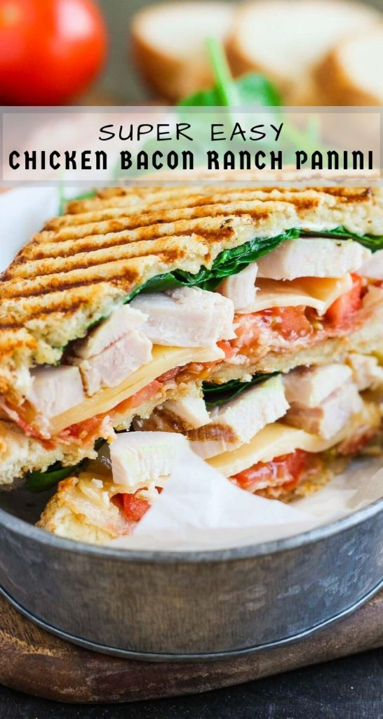 This Chicken Bacon Ranch Panini is fast, fresh, and ready in no time. Loaded with tender chunks of chicken, crisp bacon, fresh spinach, Havarti cheese, and a garlic ranch dressing, this sandwich is packed with flavor and makes the perfect, easy meal! #panini #chicken #chickenpanini #bacon #baconpanini #ranch #lunch #sandwich