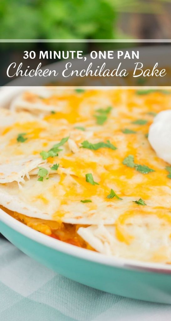 This One Pan Chicken Enchilada Bake is loaded with shredded chicken, hearty rice, and topped with cheesy tortillas. It contains the classic flavor of enchiladas, but in casserole form. Made in one pan and ready in just 30 minutes, you'll have this simple dish ready to be devoured in no time! #chicken #chickenenchilada #chickenenchiladabake #enchiladacasserole #enchiladadish #chickencasserole #comfortfood #dinner