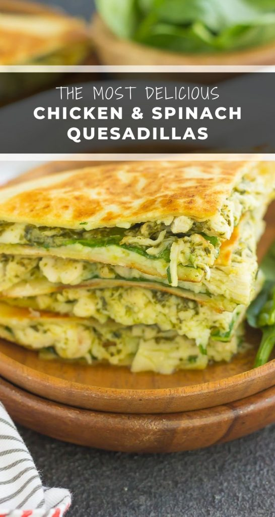 These Chicken and Spinach Pesto Quesadillas are simple to makeand ready in less than 20 minutes. Filled with shredded chicken, pesto, baby spinach, and mozzarella cheese, this easy dish is packed with flavor and perfect for busy weeknights! #quesadillas #chicken #chickenquesadillas #quesadillarecipe #spinach #pesto #spinachquesadillas #easydinner #dinner