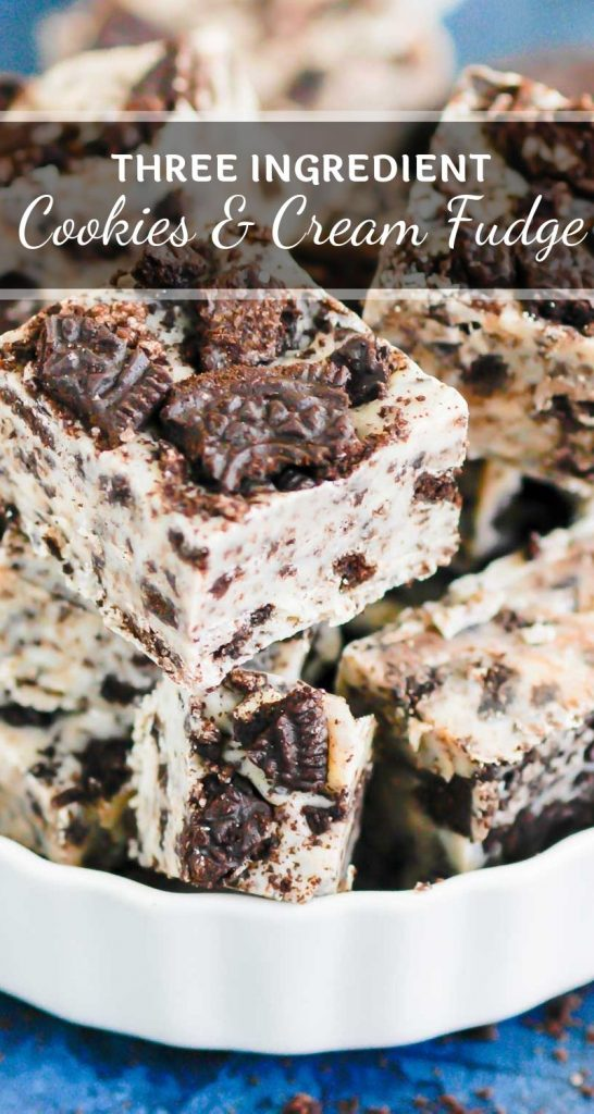 Cookies and Cream Fudge is a one bowl, three ingredient treat. Packed with classic Oreo cookies and loaded with flavor, this dessert is perfect for fudge lovers everywhere! #fudge #cookiesandcream #cookiesandcreamfudge #oreofudge #fudgerecipe #christmasdessert #holidaydessert #dessert