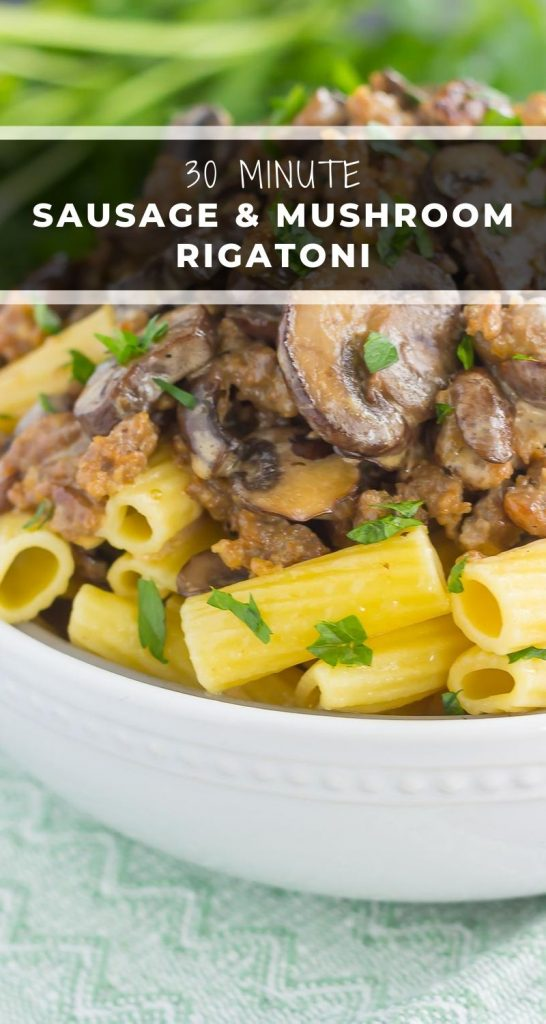 This Creamy Sausage and Mushroom Rigatoni is the perfect comfort dish that's ready in just 30 minutes. Zesty sausage, fresh mushrooms and rigatoni pasta are tossed in flavorful cream sauce. Hearty, comforting, and all-around delicious, this meal-time favorite is sure to be a winner all year long! #sausage #rigatoni #mushrooms #mushroomrigatoni #sausagerigatoni #skillet #skilletmeal #skilletdinner #pasta #pastaskilet #dinner