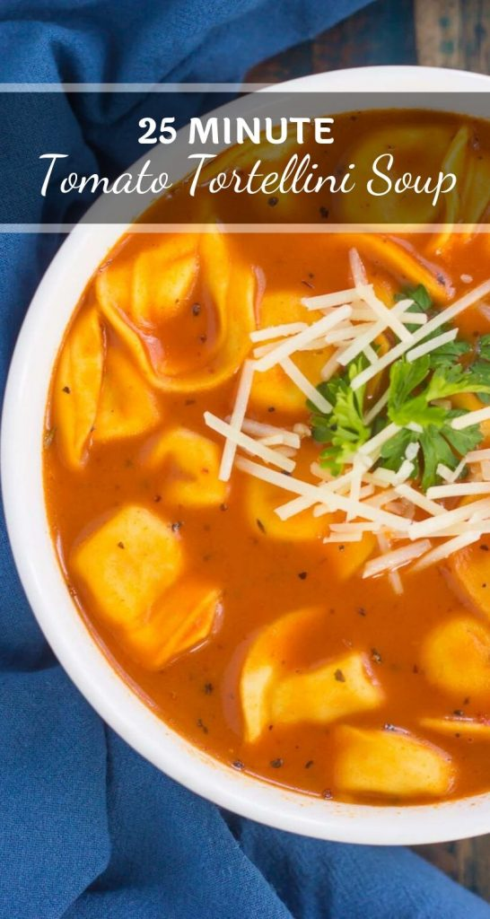 This Creamy Tomato Tortellini Soup is the perfect kind of comfort food for cold, winter days. Loaded with cheese tortellini, herbs, and made in one pot, you can have this rich and flavorful soup ready in less than thirty minutes! #soup #tomatosoup #creamytomatosoup #tortellini #tortellinisoup #lunch #dinner #comfortfood