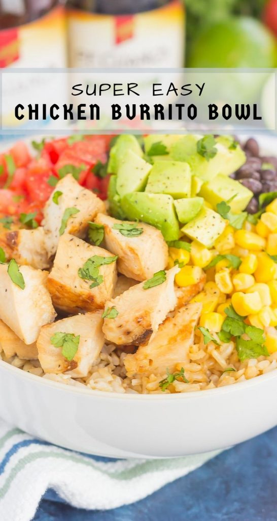 Skip the takeout and make your own Easy Chicken Burrito Bowl at home! It's loaded with juicy chicken, cilantro lime rice, black beans, corn, fresh tomatoes, and avocado. Drizzled with a soy sauce marinade and ready in no time, this meal is sure to become a family favorite! #buritto #burittobowl #burritobowlrecipe #chicken #chickenburritobowl #chickenrecipe #dinner #easydinner