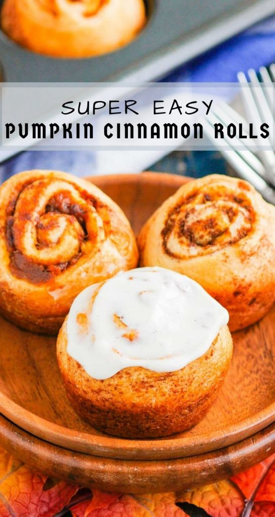 These Easy Pumpkin Cinnamon Rolls are a fun twist on the classic kind and ready in just 30 minutes. Filled with sweet pumpkin, cozy spices and topped with the most delicious cream cheese frosting, these rolls are perfect for breakfast or dessert! #cinnamonrolls #cinnamonrollrecipe #pumpkin #pumpkincinnamonrolls #pumpkinbreakfast #pumpkindessert #dessertrecipes #breakfastrecipes #fallrecipes #breakfast #dessert