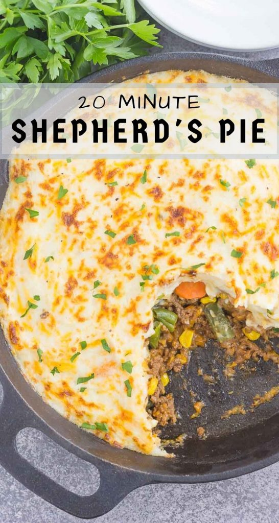 This Easy Shepherd's Pie features a unique spin on the classic version and is ready in less than 20 minutes. Loaded with zesty ground beef, cheddar cheese, mixed veggies, and topped with creamy, cheesy mashed potatoes, this is the ultimate comfort dish for everyone to enjoy! #shepherdspie #mashedpotatoes #groundbeef #easydinner #dinner #comfortfood