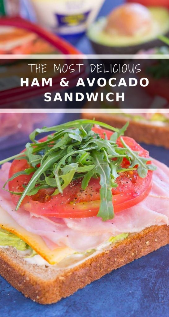 This Ham and Avocado Open-Faced Sandwich is simple, fresh, and perfect for a light lunch or dinner. Honey ham and tangy cheese is piled high on a slice of thick bread, then garnished with mayonnaise, avocado, and fresh tomato. With just six ingredients and hardly any prep time involved, you can have this easy sandwich ready in no time! #ham #hamsandwich #sandwich #avocado #avocadosandwich #lunch #dinner #easylunch