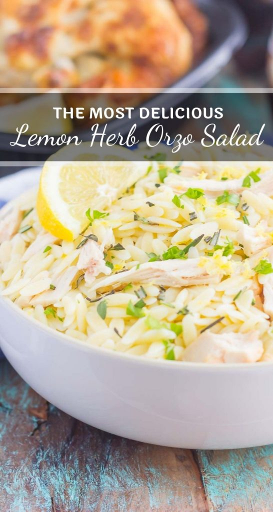 This Lemon Herb Orzo with Chicken is a simple dish that's ready in less than 30 minutes. Packed with shredded chicken, rosemary, thyme, and lemon, this pasta is loaded with flavor and perfect for a summer meal! #orzo #orzosalad #chicken #chickensalad #lemon #lemonsalad #healthysalad #lunch #dinner