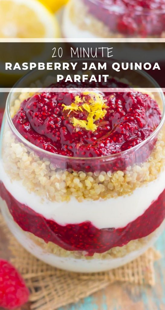 Switch up your breakfast or snack routine with this easy Raspberry Jam Quinoa Parfait. Layers of vanilla Greek yogurt, protein-packed quinoa, and homemade raspberry chia jam make a deliciously simple and nutritious dish for when you want something on the healthier side! #quinoa #quinoarecipe #quinoaparfait #yogurt #yogurtparfait #breakfast #healthybreakfast