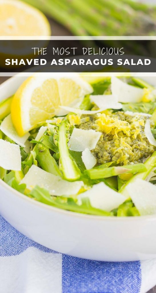 Filled with tender asparagus ribbons, fresh arugula, and a lemony pesto sauce, this Shaved Asparagus Pesto Salad is perfect to enjoy as a main dish or simple side dish. Easy to prepare and with a light and fresh flavor, you'll fall in love with the taste and texture of these fresh greens! #asparagus #asparagussalad #shavedasparagus #salad #healthysalad #healthylunch #pesto