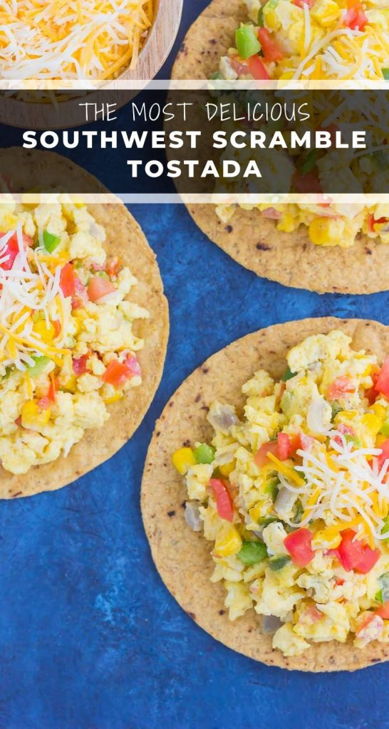 This Southwest Scramble Tostada is simple, 20 minute breakfast that is sure to get your day off to a great start. Easy, fresh, and full of flavor, this dish is sure tobecome a regular in your meal rotation! #eggs #scrambledeggs #tostada #breakfast #breakfasttostada #southwest