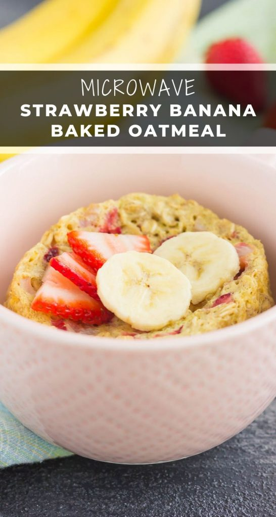This Strawberry Banana Baked Oatmeal in a Mug is perfect for those busy mornings for when you want a quick and easy breakfast. Packed with hearty oats, fresh fruitand made in the microwave, you can have this baked oatmeal ready in less than five minutes! #oatmeal #bakedoatmeal #strawberryoatmeal #bananaoatmeal #microwaveoatmeal #breakfast #healthybreakfast
