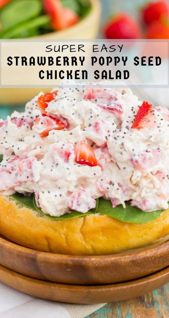 This Strawberry Poppy Seed Chicken Salad is packed with shredded chicken, a light dressing of Greek yogurt and mayo, and bursting with juicy strawberries and poppy seeds. This dishis fresh, flavorful, and filled with just the right amount of sweetness! #strawberrychicken #strawberrychickensalad #strawberrypoppyseed #poppyseedchickensalad #chickensalad #chicken #healthylunch #healthysalad #summersalad