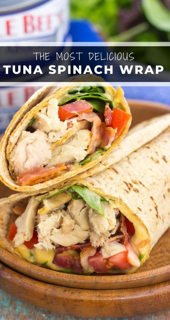This Tuna Spinach Wrap isfilled with heartytuna, fresh spinach, crisp bacon, and tomatoes. Simple, fresh and easy to make, this dish comes together in minutes and serves as a perfect lunch or dinner for back-to-school times! #tuna #tunawrap #tunasandwich #spinachwrap #lunch #easylunch #dinner