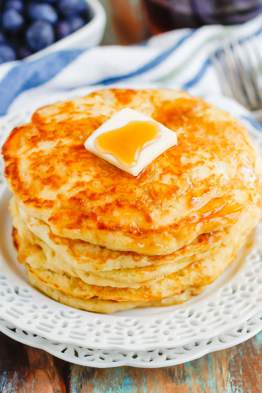 These Buttermilk Pancakes are thick, fluffy, and ready in just 25 minutes. One bite and you'll fall in love with the taste and texture of these homemade pancakes. You'll never go back to the boxed kind again!