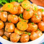 Instant Pot Garlic Herb Potatoes are tender, flavorful, and ready in just 20 minutes. Made with just a few simple ingredients, these potatoes are sure to be a delicious side dish for just about any meal! #potatoes #babypotatoes #instantpot #instantpotpotatoes #sidedish #thanksgivingsidedish