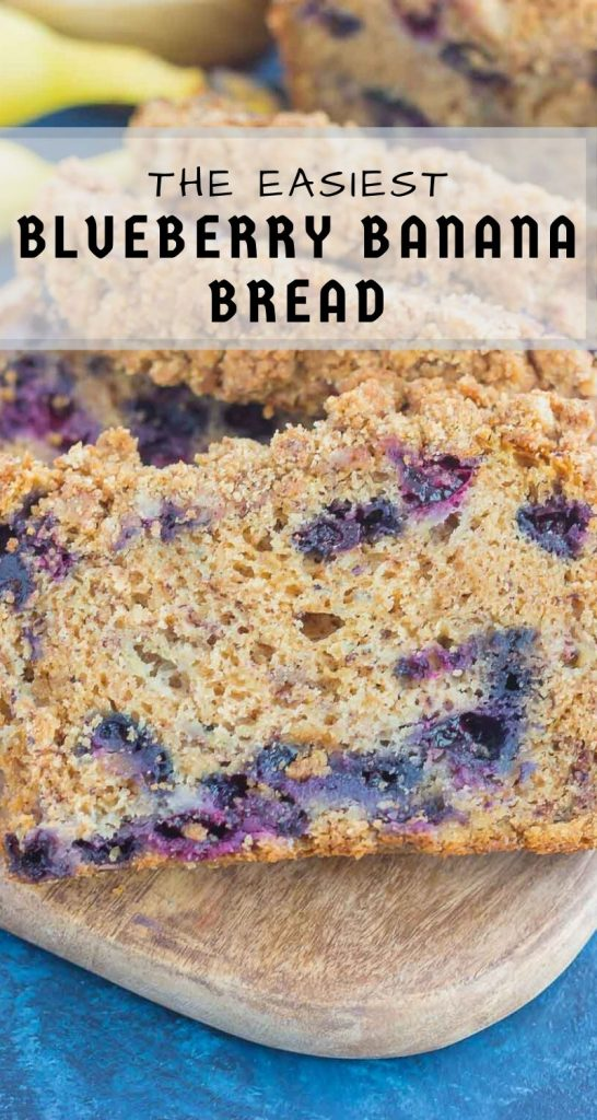 This Cinnamon Streusel Blueberry Banana Bread is packed with the classic banana bread flavor, loaded with juicy blueberries, and topped with a sweet and crumbly cinnamon streusel. Soft, moist, and perfectly delicious, this quick bread makes the best breakfast or dessert! #bread #bananabread #blueberrybread #blueberrybananabread #quickbread #bananabreadrecipe #breakfast #dessert