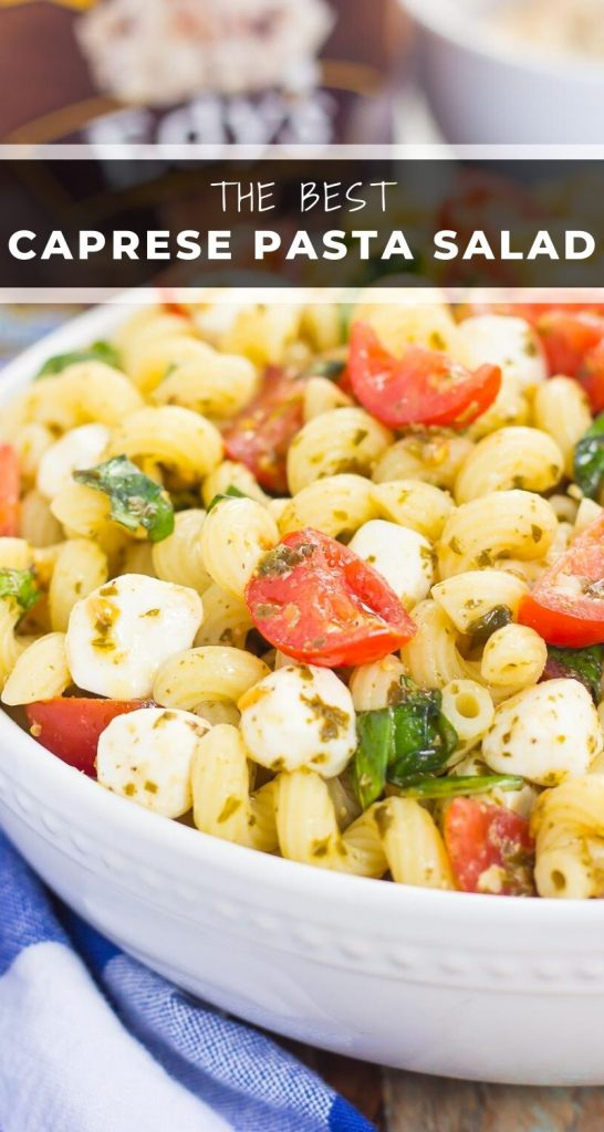 This Caprese Pasta Salad is filled with tender noodles, cherry tomatoes, fresh basil, and creamy mozzarella cheese. It's tossed in a whitebalsamicand pesto dressing, which gives this dish a burst of flavor! #caprese #capresesalad #capresepasta #capresepastasalad #capreserecipe #pastasalad #pastasaladrecipe #summersalad #summerpastasalad