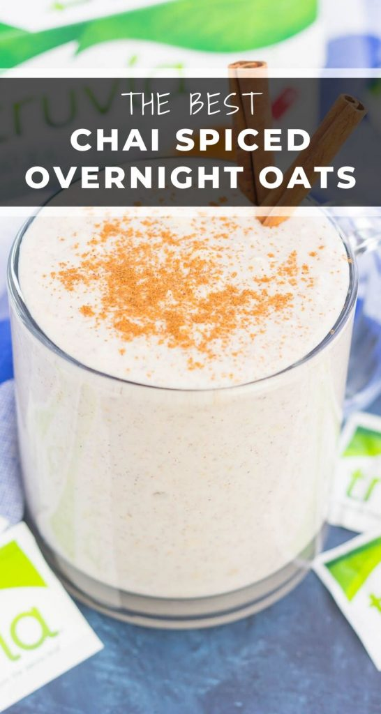 These Chai Spiced Overnight Oats are a simple make-ahead breakfast that's perfect for busy mornings. Hearty oats, Greek yogurt, and a sprinkling of cozy spices and sweetness give these overnight oats a delicious taste and texture that's sure to keep you going all morning long! #oats #overnightoats #chai #chaiovernightoats #overnightoatsrecipe #oatmeal #oatmealrecipe #breakfast #healthybreakfast