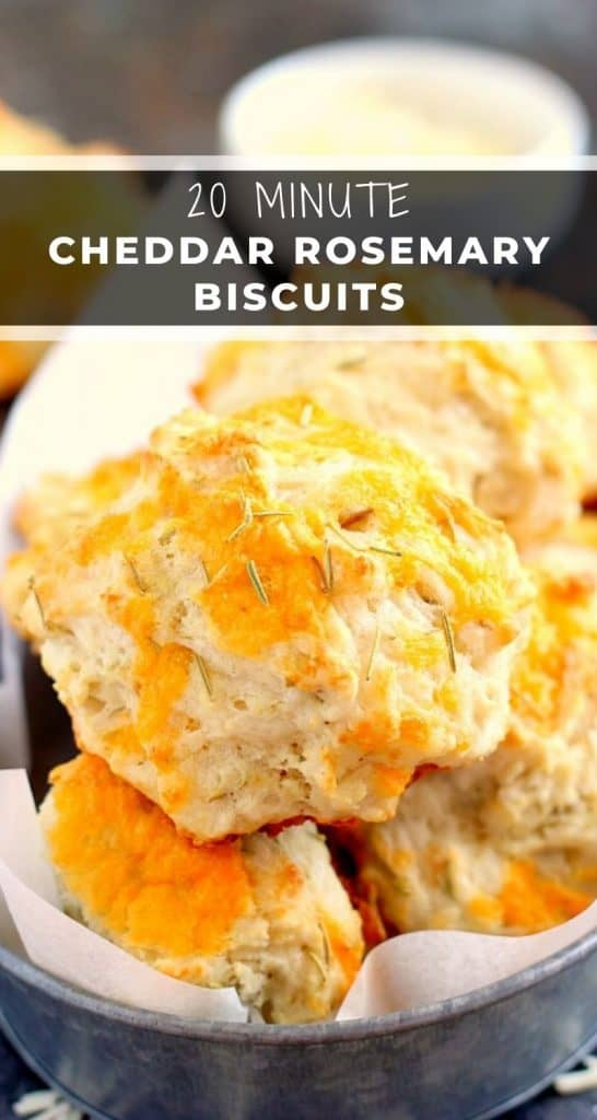 TheseCheddarRosemaryBiscuitsare soft, flaky, and bursting with flavor. The fresh cheddar cheese and rosemarygives these biscuits the perfect amount of zest. And best of all, it's ready in less than 20 minutes! #biscuits #cheddarbiscuits #rosemary #rosemarybiscuits #biscuitrecipe #sidedish #easysidedish