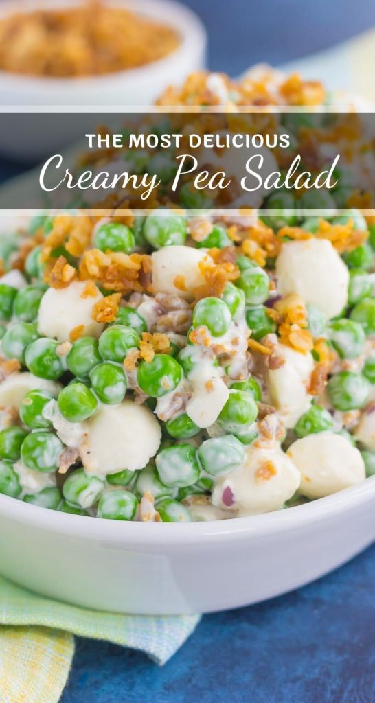 Filled with crunchy peas, mozzarella cheese, red onion, and crumbled bacon, this Creamy Pea Salad will take your salad experience to a whole new level! #peas #peasalad #pearecipe #peasaladrecipe #salad #saladrecipe #summersalad