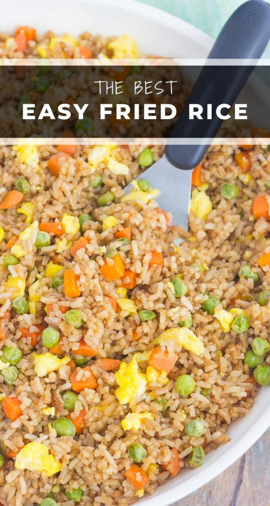 Fast, easy, and full of flavor this Easy Fried Rice tastes like your favorite Chinese take-out! #friedrice #easyfriedrice #friedricerecipe #rice #ricerecipe #sidedish