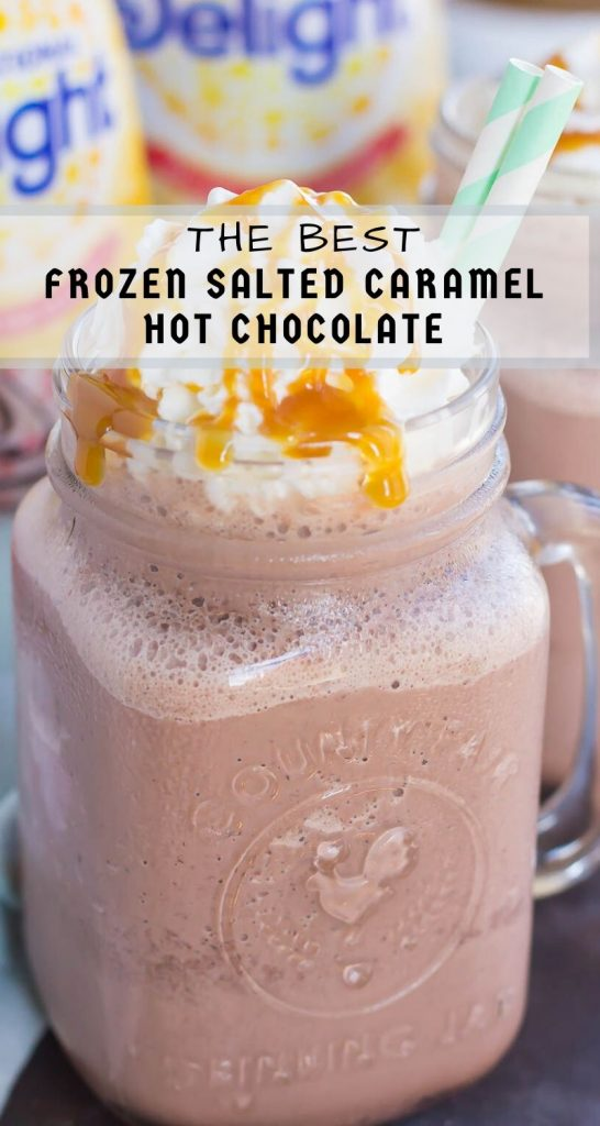 This Frozen Salted Caramel Mocha Hot Chocolate is a festive way to embrace the start of the holiday season. This easy drink is a sweet and creamy blend of hot chocolate, milk, and the rich flavors of salted caramel and mocha! #hotchocolate #frozenhotchocolate #saltedcaramel #caramelhotchocolate #drink #holidaydrink #holidaybeverage #frozendrink