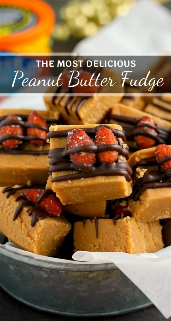 This Honey Roasted Peanut Butter Fudge is smooth, creamy, and filled with a rich peanut butter taste. Topped with honey roasted almonds and a drizzle of dark chocolate, this easy treat comes together in minutes and is sure to be the perfect dessert for your next party or get-together! #fudge #peanutbutter #peanutbutterfudge #fudgerecipe #peanutbutterrecipe #holidayfudge #christmasfudge #holidaydessert #dessert