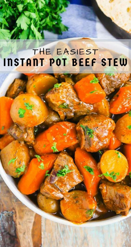 Instant Pot Beef Stew is a simple, hearty dish that's full of cozy flavors. Tender beef, potatoes and carrots are tossed in a savory gravy that's ready in less than an hour. This easy meal will quickly become a dinner time favorite all year long! #stew #beefstew #bestbeefstew #instantpotbeefstew #instantpotstew #beefstewrecipe #instantpotdinner #comfortfood #dinner #easydinner